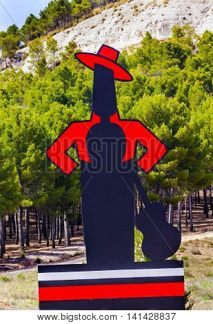 CORDOBA, SPAIN - MAY 15. 2014 Famous Tio Pepe Sherry Adverising Sign Cordoba Spain. Guitar flamenco player Famous advertising seen throughout Spain