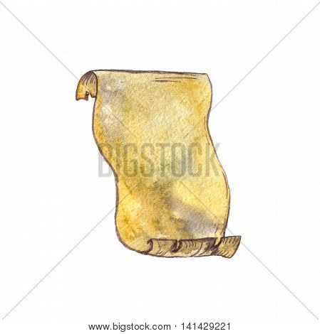 watercolor old parchment, paper scroll isolated at white background, cartoon template, hand drawn illustration