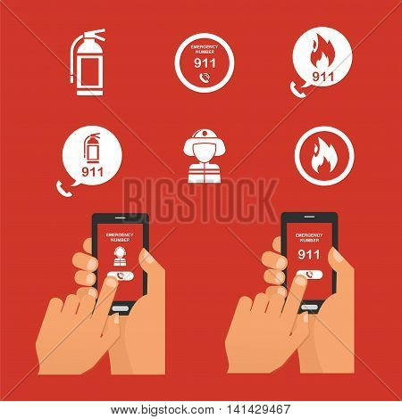 Emergency fire alert via telephone. Set of Fire Emergency Icon. vector illustration
