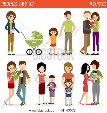 Vector set of people with children. Parents