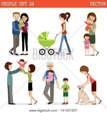 Vector set of people with children. Parents children grandmothers and grandfathers