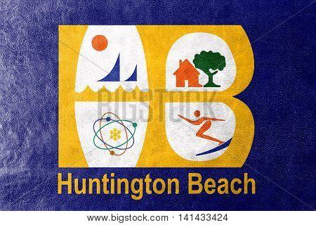 Flag Of Huntington Beach, California, Usa, Painted On Leather Texture