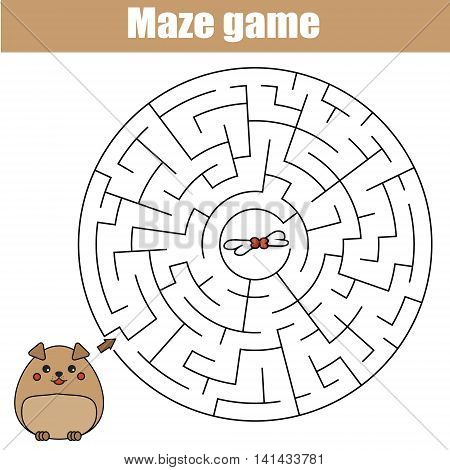 Maze children game: help the dog go through the labyrinth and find food. Kids activity sheet