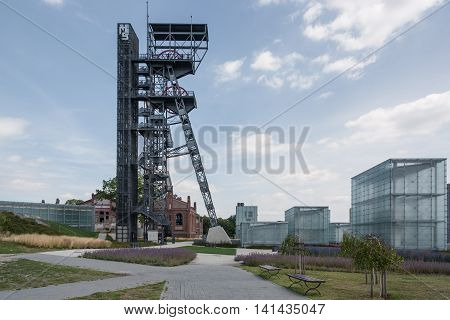 Katowice, Poland - July 10, 2016 Region Upper Silesia. The grounds of the Silesian Museum. The museum is housed in the former coal mine Katowice.