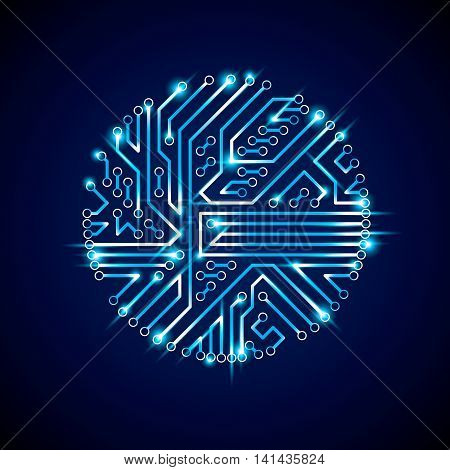 Technology Communication Luminescent Cybernetic Element. Vector Abstract Illustration Of Neon Circui