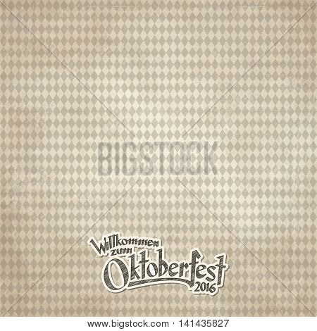 Vintage Background With Checkered Pattern For Oktoberfest 2016