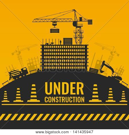Under construction silhouettes design with building and equipment on hill barrier tape and cones vector illustration