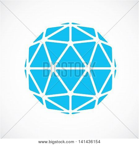 Dimensional Vector Blue Low Poly Object, Trigonometry Shape. Technology 3D Spherical Element Made Wi