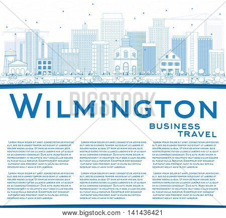 Outline Wilmington Skyline with Blue Buildings and Copy Space. Business Travel and Tourism Concept with Modern Buildings. Image for Presentation Banner Placard and Web Site.