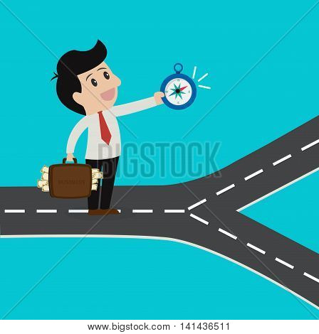 Business using compass choosing way to success.Vector cartoon business concept.