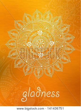 Vector abstract mandala background with henna patterns. Stock mehndi illustration for design