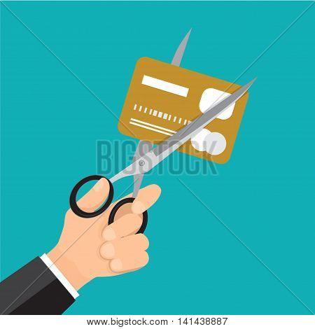 Hand business cutting credit card with scissor. business cartoon.