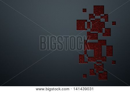 blue luxury metallic wall and red square. metal background and texture. modern design for name card. 3d illustration.