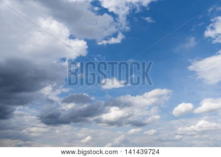 Abstract background of blue sky with white clouds and rain clouds.