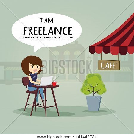 I'm freelance, l could work anywhere and slowlife.cartoon business concept.