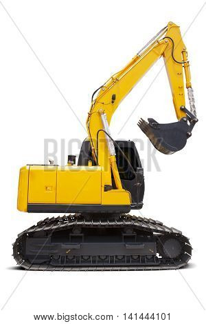 Side view of a new excavator with yellow color in the studio isolated on white background