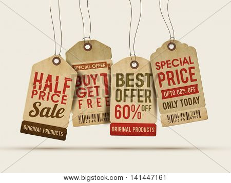 Set of four creative Sale or Price Tags, Labels design on grey background.
