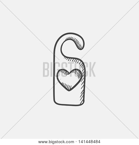 Door tag with heart sketch icon for web, mobile and infographics. Hand drawn vector isolated icon.
