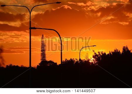 BRISBANE AUSTRALIA - AUGUST 06 : Beautiful Qld Sunset - August 6, 2016.