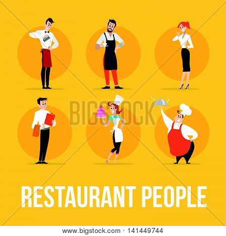 Flat profession characters. Human profession icon. Friendly, happy people portrait. Restaurant team, food industry work, people set. Woman, girl, lady icon. Man, boy, guy icon. Cartoon style.