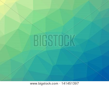 Abstract Yellow Blue Green Gradient Low Polygon Shaped Background