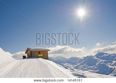 Isolated Mountain Hut In The Sun