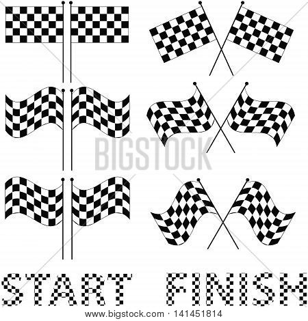 Checkered flags set for racing and autosport design, such a logo. Words - the start and finish made of white and black squares, vector for print or design