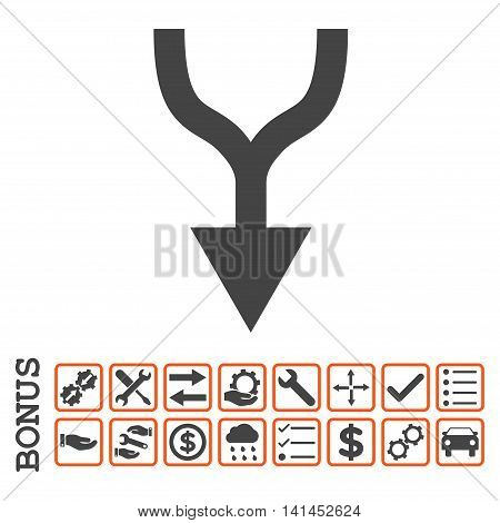 Combine Arrow Down icon with bonus pictograms. Vector style is flat iconic symbol, orange and gray colors, white background. Bonus style is bicolor square rounded frames with symbols inside.