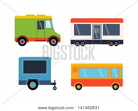 Street food festival color trailers labels set, van restaurant. Cafe urban food truck trailers, mobile market, event and transport. Vector illustration food truck trailers, fast delivery service.