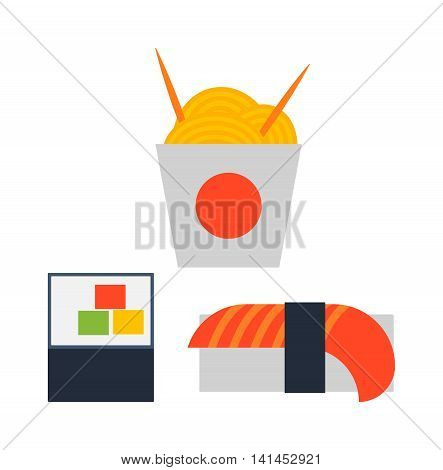 Sushi rolls icons food and japanese seafood sushi rolls and noodles. Sushi rolls traditional seaweed fresh raw food. Asia cuisine restaurant delicious. Sushi roll chine or japan selective food vector.