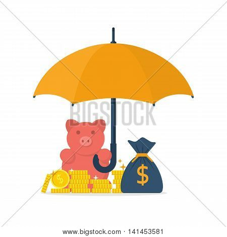 Protection money concept. Safe and secure investment insurance. Vector illustration flat design style. Piggy bank is holding an umbrella to protect gold coins. Financial savings saving money.
