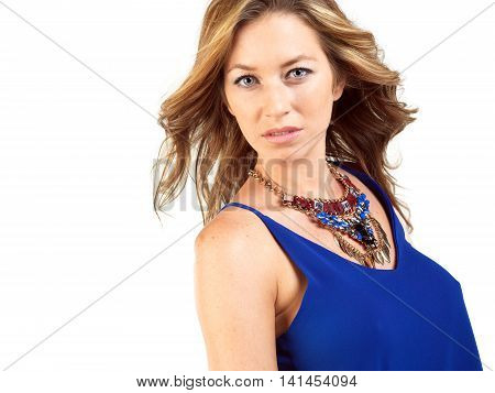 youn beautiful blond Spanish women portrait on white background