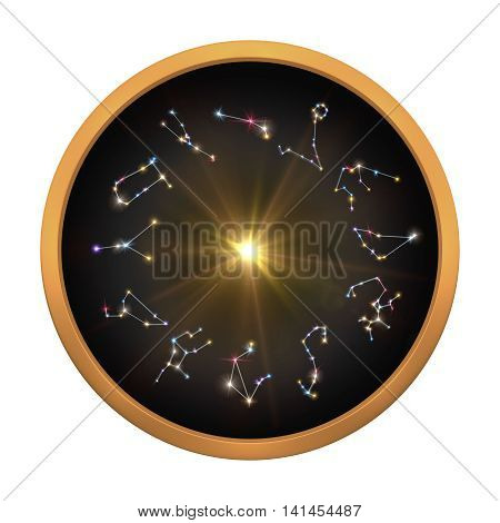 3d illustration of Horoscopes and Zodiac Signs cycle with clipping path