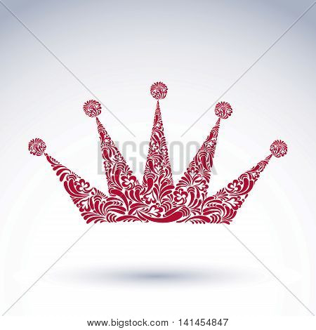 Bright flower-patterned majestic crown best for use in graphic design.