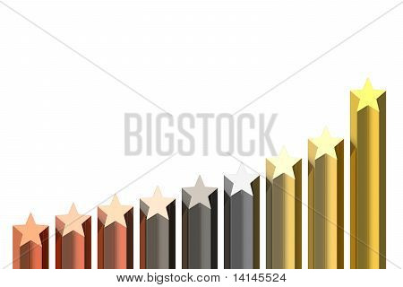 Diagram Of Bronze, Silver And Golden Stars Isolated On White