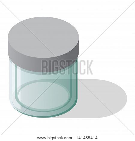 Empty glass bank blank jar classic home dishes vector. Vacant empty bank unoccupied jar box and empty bank finansial pack tube savings concept. Glass Jar with cover empty bank vector.