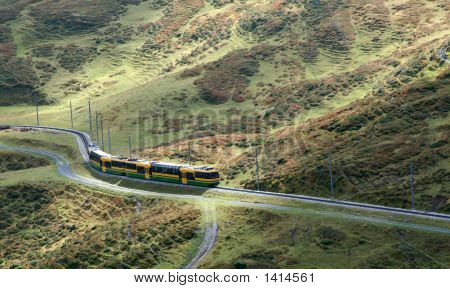 Train Winding Through The Mountains