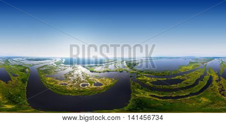 Aerial seamless 360 degree panorama of the river's valley with lots of islets. River of Kama, Russia
