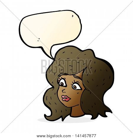 cartoon woman looking concerned with speech bubble poster