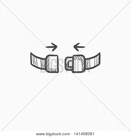 Seat belt vector sketch icon isolated on background. Hand drawn Seat belt icon. Seat belt sketch icon for infographic, website or app.