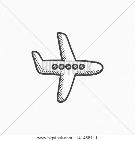 Flying airplane vector sketch icon isolated on background. Hand drawn Flying airplane icon. Flying airplane sketch icon for infographic, website or app.