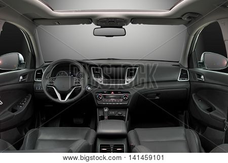 the inside of the car, front view