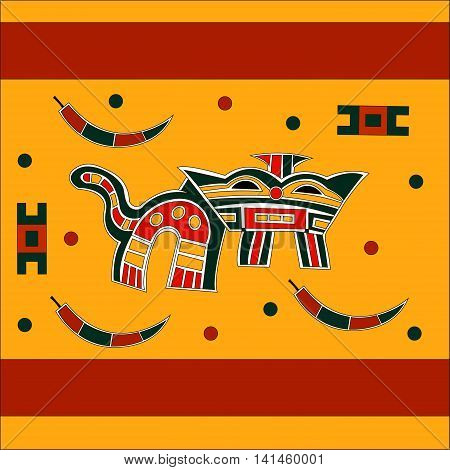 Ethnic pattern of American Indians: Aztecs, Mayans, Incas. Mythical beast resembling a goat and a cat, stylized peppers. Drawing in the Mexican style. Vector illustration.
