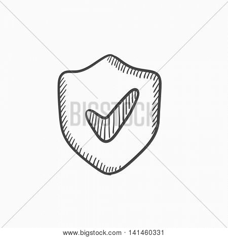 Shield with check mark vector sketch icon isolated on background. Hand drawn Shield with check mark icon. Shield with check mark sketch icon for infographic, website or app.