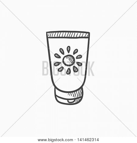 Sunscreen vector sketch icon isolated on background. Hand drawn Sunscreen icon. Sunscreen sketch icon for infographic, website or app.