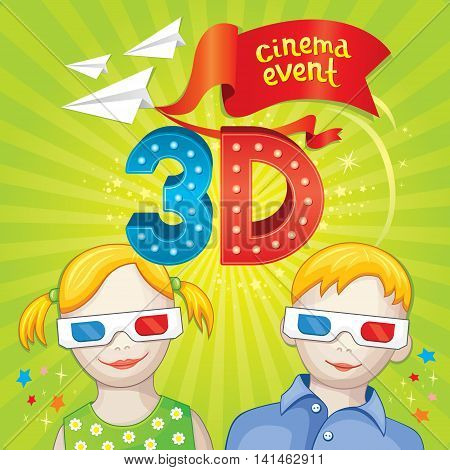 Bright illustration of 3d cinema theatre in vector. Cute children characters in 3d glasses watching a movie.