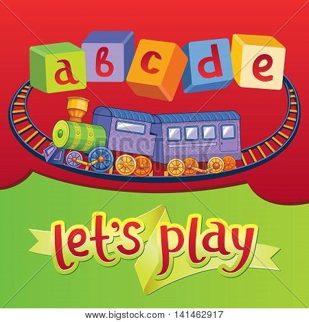 Let`s play. Awesome childish illustration of a toy railroad and abc blocks in vector