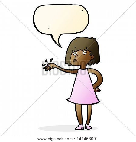 cartoon woman showing off engagement ring with speech bubble