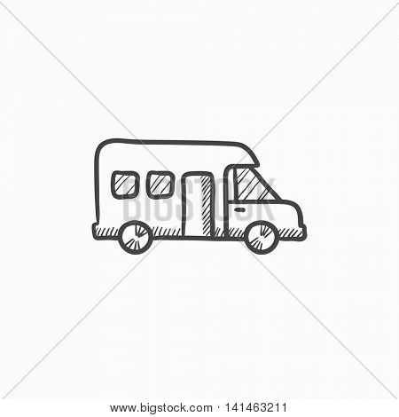 Motorhome vector sketch icon isolated on background. Hand drawn Motorhome icon. Motorhome sketch icon for infographic, website or app. poster
