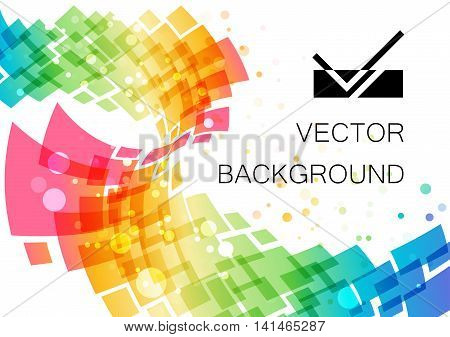 Colored abstract technology curve frame on white background geometric ornament